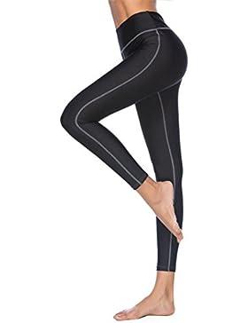 DOGZI Mujer Leggings y Medias Deportivas Yoga Color Sólido Delgado De Pantalones Largos con Estampado Floral Elasticidad...