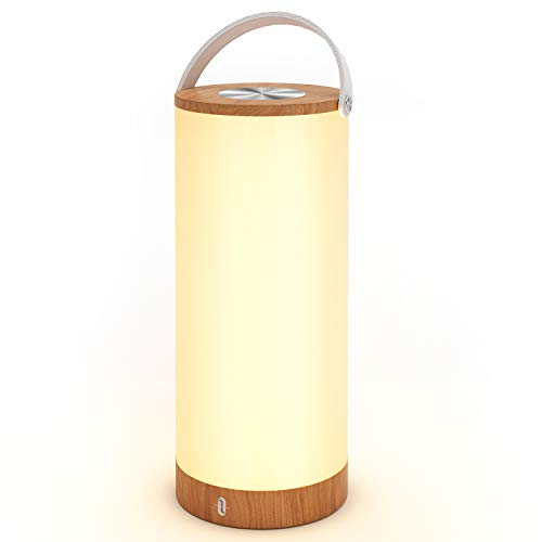 Tischlampe LED vintage TaoTronics Holz Optik Nachttischlampe 3000K Warmweiß stufenlos dimmbar Touch Bedienung kabellos batteriebetrieben mit 4000mAh Akku Merkfunktion Ein-Griff tragbar