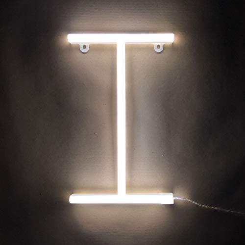 Smiling Faces Letrero luminoso de neón LED Letras blancas - Colgante de pared alimentado por batería - Letra I
