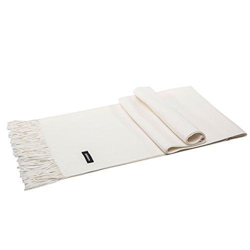 LeKuni Schal Damen Herren Unisex Kaschmir-Mischung Modeschal Pashmina langer Cashmere weicher warmer modischer Cape Umhang Unifarben,Beige_White