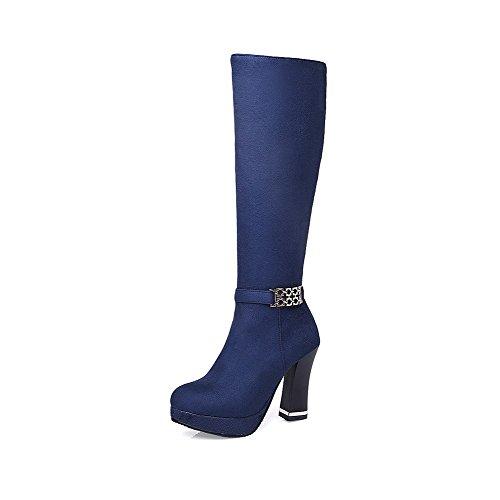 AgooLar Damen Hoher Absatz Rein Reißverschluss Stiefel mit Metalldekoration, Cremefarben, 36