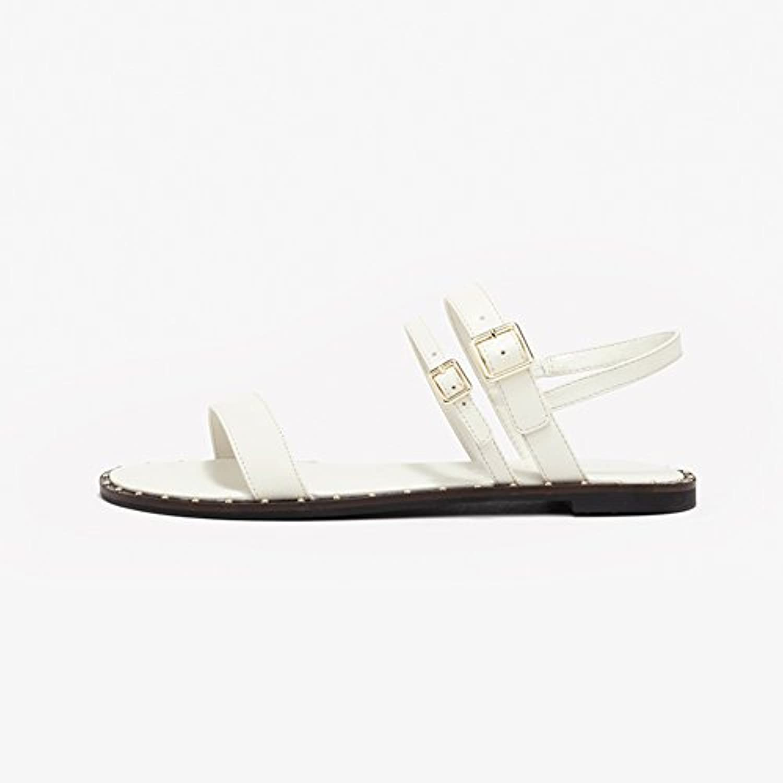 WYYY Damenschuhe Sommersaison Niedriger Fersenblock Reine Farbe Zehe öffnen Wortschnalle Flache Schuhe Freizeitschuheö
