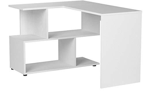 WOLTU TS64ws Table de Bureau en MDF,Table de Travail PC Table d'ordinateur avec étagères, 120x100x77cm,Blanc