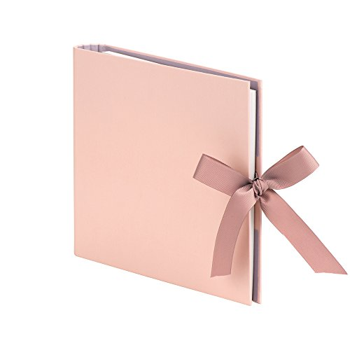Rössler Papier Fotoringbuch (50 nachfüllbare weiße Seiten, 25 Blatt, 23 x 21 cm) apricot mit Schleife