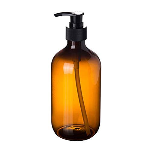 0Miaxudh Nachfüllbare Flasche, 300 / 500ml Lotion Shampoo Shower Gel Holder, Seifenspender, Leere Pumpflasche Brown 300ml -