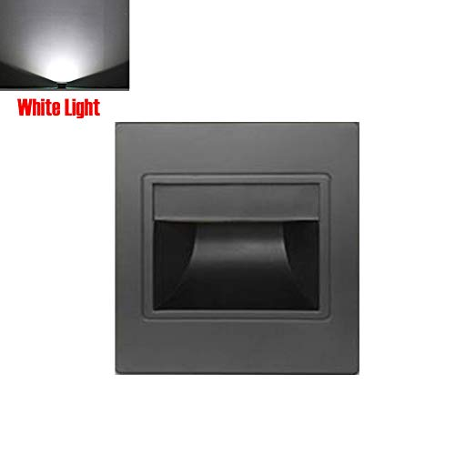 GEZICHTA 185-265 V 1,5 W LED Innen Licht 3000 - 6500 K warmes weißes Licht, Licht Treppe, Weiß, Schwarz, Champagner, Silber-Finish mit Gehäuse Typ 86 Free Size Black,White Light - Black Baffle Step
