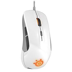 SteelSeries Rival, Optische Gaming-Maus, RGB-Beleuchtung, 6 Tasten, Gummierte seitliche Griffflächen, Farbe Weiß