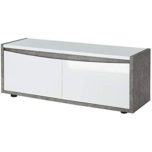 Générique Cimentes Meuble TV Contemporain Blanc laqué Brillant et Effet béton - l 120 cm