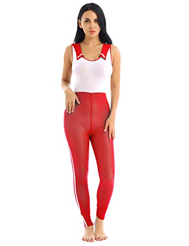 YiZYiF Damen Japanisch Schulmädchen Kostüm sexy Reizwäsche Damenbody Jumpsuits Babydoll Dessous Erotik Unterwäsche mit Transparent Effekt Rot One Size