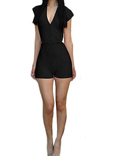 GSP-Combinaisons Aux femmes Manches Courtes Sexy Mélanges de Coton Moyen Non Elastique black-l