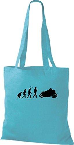ShirtInStyle Stoffbeutel Jute Evolution Motorrad Biken Stunt Freebike Biker diverse Farbe sky blue