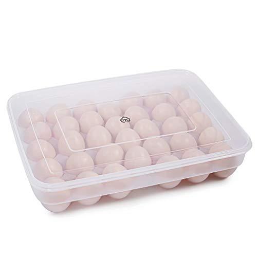 77L Eier Behälter, 34 KühlSchrank Eier Behälter mit Deckel, Kunststoff-tragbare Eier HalterGehäuse-schützen und halten frische, stapelbare große EierSchale (Klar)
