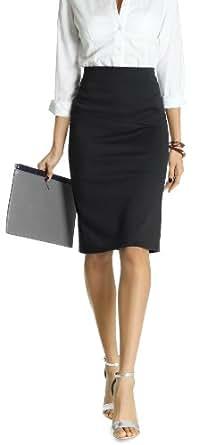 bestyledberlin Damen Rock, knielange Röcke, Stiftrock, klassischer Rock mit Schlitz r07p 34/XS schwarz