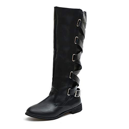 Waterproof Leather Country River Boots Ladies Spring Winter Knee High Flat Boots Fashion Girls Over The Knee Boots Sexy Women Heighten Platforms Thigh High Tessals Boots Biker Shoes Black Size 5 UK