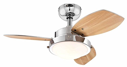 31vJJpR334L - Westinghouse Ceiling Fans 78763 Wengue One-Light 76 cm Three-Blade Indoor Ceiling Fan, Chrome Finish with Opal Frosted…