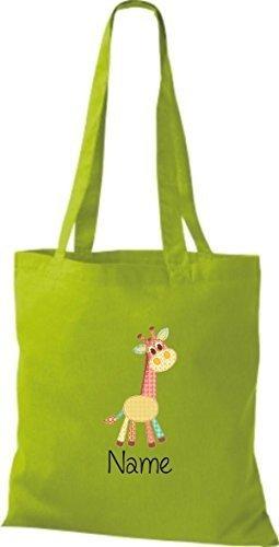 Borsa di stoffa con DOLCE FANTASIE incl. NOME PERSONALIZZABILE Giraffe Lime