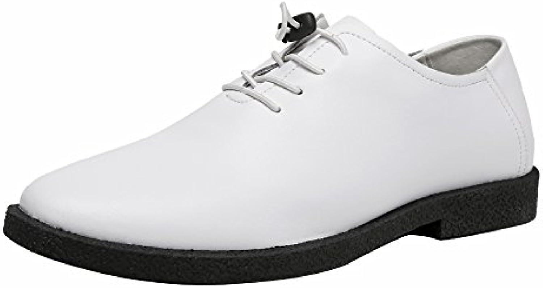 LJO Zapatos De Cuero Para Hombres Zapatos De Ocio Para Negocios Corium En Punta De Verano,White,UK/EU41