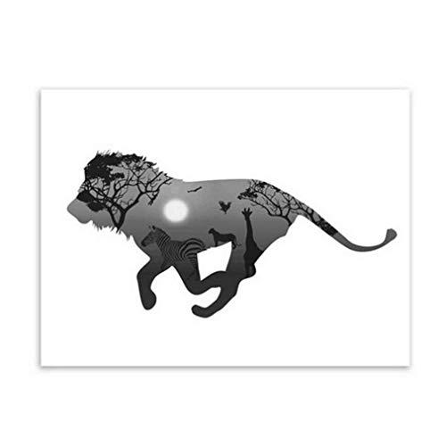 MINRAN DECOR Impressions sur Toile Art Mural Peintures murales Noir et Blanc Abstrait Elk Ouvrages d'art Affiche Photo d'art Non encadrée Décor de Salon Décoration Moderne, 4, 40x50cm