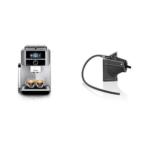 Siemens TI9575X1DE EQ.9 s700 plus connect Kaffeevollautomat (1500 Watt, vollautomatische Dampfreinigung, Baristamodus, Home Connect, sehr leise, iAroma) edelstahl & TZ90008 Milchadapter schwarz