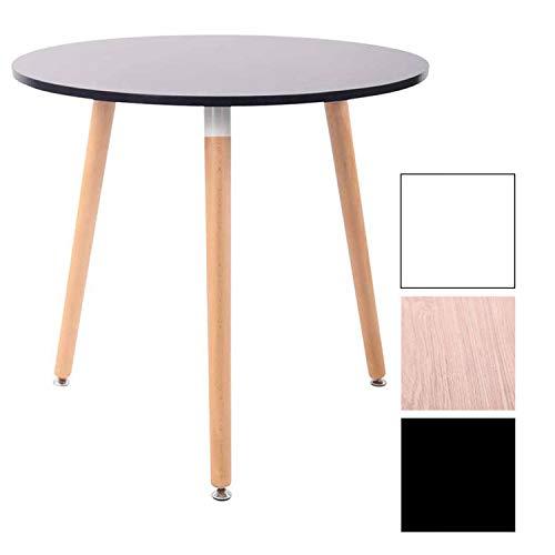 CLP Tavolo Tondo da Cucina Ansgar in Legno – Tavolino Rotondo Scandinavo 3 Gambe, Ø 80 cm, H 75 cm – Tavolino da Sala da Pranzo Nero Natura