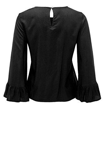 Only Onlnova Solid Vis Wide Sleeve Top Wvn, Camicia Donna Black