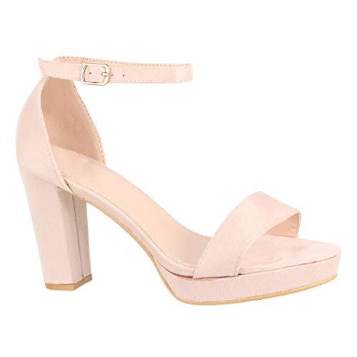 Elara Damen Pumps | Knöchelriemchen Sandaletten | Bequeme High Heels | Chunkyrayan WW100 Beige-36