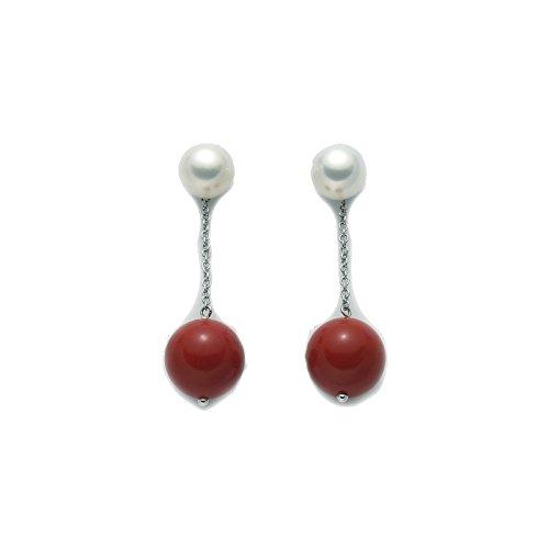 Miluna - Orecchini pendenti Miluna in argento 925% con perle e corallo rosso