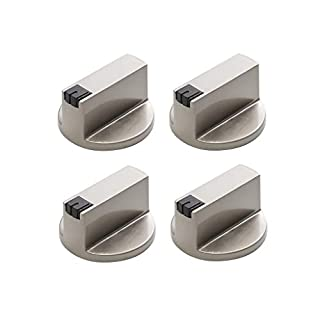 Vinallo 4 Pcs Universal Silver Gas Stove Knobs Cooker Oven Hob Control Switch (6MM 90°)