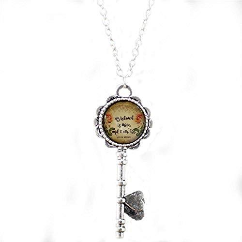 aaaAA Halskette mit Bibelvers My Beloved is Mine, Glas-Schlüsselanhänger, Geschenk