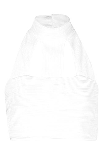 blanc Charli Pleat High Neck Crop Top Blanc