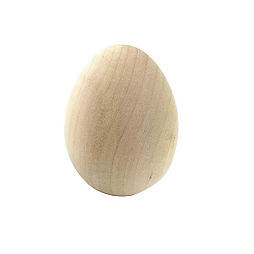 6 Pcs Unpainted Wooden Egg, Easter DIY Doodle Egg Toy - for Easter, Crafts and Shows