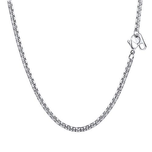 PROSTEEL Halskette Hochwertig Edelstahl Ankerkette Erbskette 3MM Breite Herren Kette mit Karabinerverschluss 61CM Lang Silber