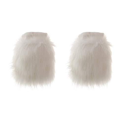B Baosity Fuzzy Faux Pelliccia Scaldamuscoli Stivali Scarpe Polsino Natale Babbo Natale Costume - bianca, 15 centimetri