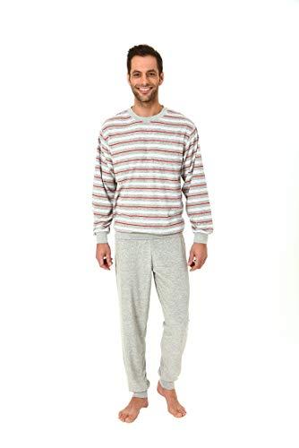 Eleganter Herren Frottee Pyjama Schlafanzug lang mit Bündchen - 61505, Größe2:48, Farbe:grau-Melange