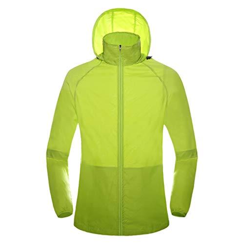 WERVOT Sonnenschutzbekleidung für Unisex Outdoor-Bekleidung Sporthaut Windjacke Schnell trocknende Bekleidung Reitanzüge Sonnenschutzbekleidung(Grün,L) - Gürtel Trench Lange Mantel Jacke