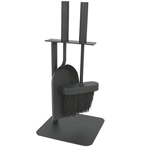 COM-FOUR® 3-teiliges Kaminbesteck in schwarz in kompakter Größe aus Metall, mit Schaufel, Besen und Halter, ideal für Kaminöfen (03-teilig Besteck)