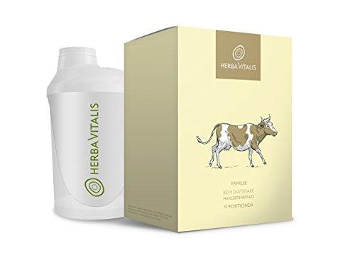 Abnehmshake Vanille Diät-Shake von HerbaVitalis | vegetarisch abnehmen | 9er BCM Starter-Paket inkl. gratis Shaker | perfekt als Zutat für Protein Pancake