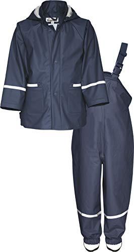 Playshoes Baby-Jungen Matschanzug, Regenanzug, Regen-Set Basic Regenjacke, Blau (Marine 11), (Herstellergröße: 104)