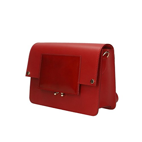 Chicca Borse Pochette Elegante Borsetta a Spalla da Donna in Vera Pelle Made in Italy 100% Genuine Leather 26x18x9 Cm Rosso