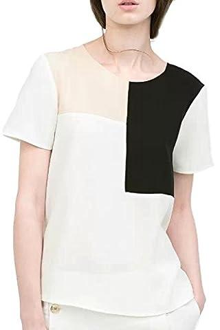 Women's Elegant Short Sleeve Scoop Neck Colorblock Stretchy Summer T Shirt White S