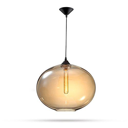 Vampsky Moderne einfache Glas Anhänger Deckenleuchte American Creative mundgeblasene Glas Glocke Lampenschirm Pendelleuchte E27 Edison Einstellbare Esszimmer Beleuchtung Bar Küche Kronleuchter hängen -
