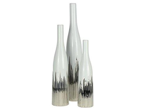 OUM-SET Vasen weiß Silber 3tlg Set 51cm 41cm 33cm Dekovasen Keramik Dekoration