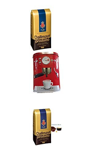 Dallmayr Prodomo ganze Bohnen 500g + Kaffeedose neu 3 D Design rot + 4 Gläser mit Henkel 200ml