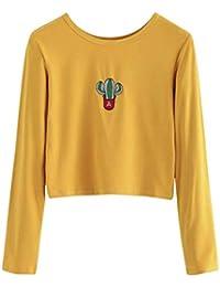 240569f0f447 Oudan Damen Sweatshirt Frauen Pullover Gestickter Kaktus Oberteile Lose  Lässige Bluse Kleidung Straße Tuniken Lange Hülsen (Farbe   Gelb,…