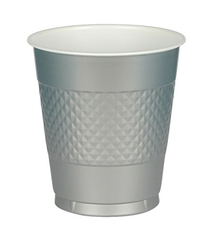 Amscan 436801-17 Trinkbecher, Plastik, Silber