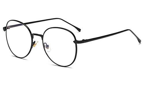 Unisex Metall Frame Retro Glasrahmen-Ebenenspiegel Dekobrille Klassisches Rund Rahmen Glasses Klare Linse Brille für Herren Damen