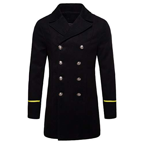 CuteRose Mens Trench Overcoat Woolen Double Breasted Fit Mid-Long Jacket Coat Black L Mens Double Breasted Trench Coat
