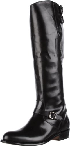 FRYE Women's Dorado Buckle Riding Boot, Black Smooth Polished, 7 M US (High Round Boots Knee Toe)