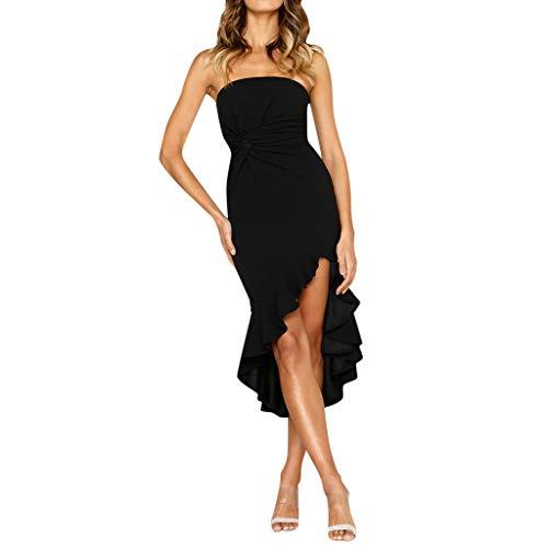 Beikoard Frauen einfarbig Abendkleider Ärmellos Prom Kleider Schulterfrei Ballkleid Elegant Bodycon-Kleid Smoking Kleid Rüschen Wickelkleid