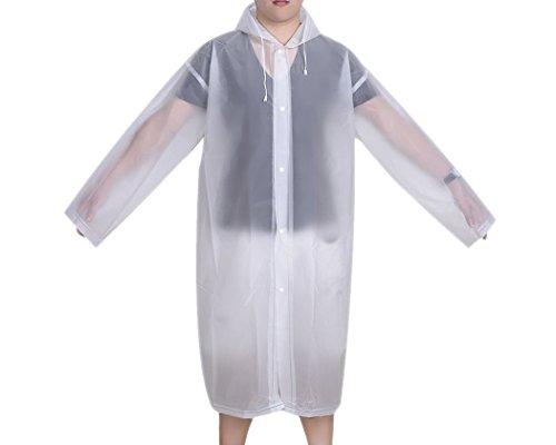 DSstyles imperméable femme imperméable Poncho de pluie avec capuche et manches Ponchos Pluie Portable - blanc - Médium